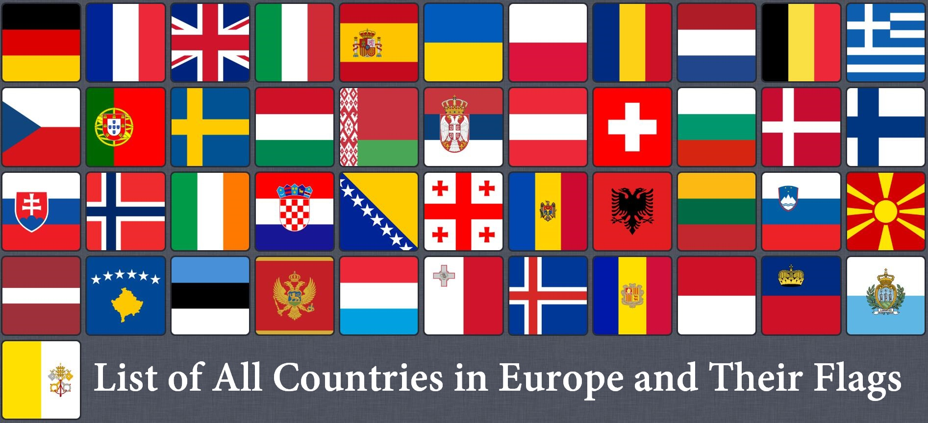 All Countries in Europe and Flags