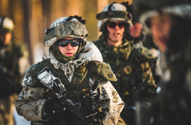 Finnish soldiers on drill in Sweden in 2019