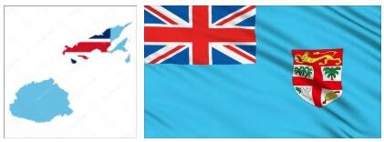 Fiji Flag and Map