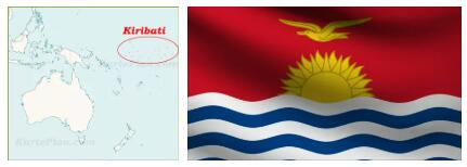 Kiribati Flag and Map
