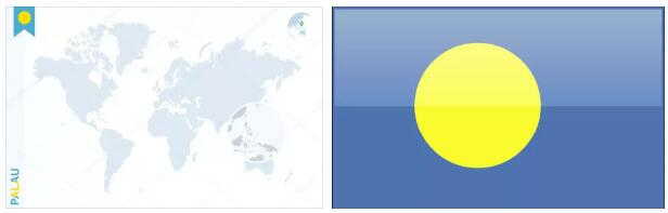 Palau Flag and Map