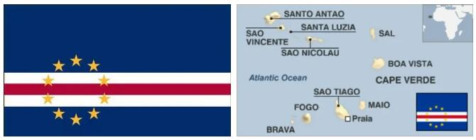 Cape Verde Flag and Map 2