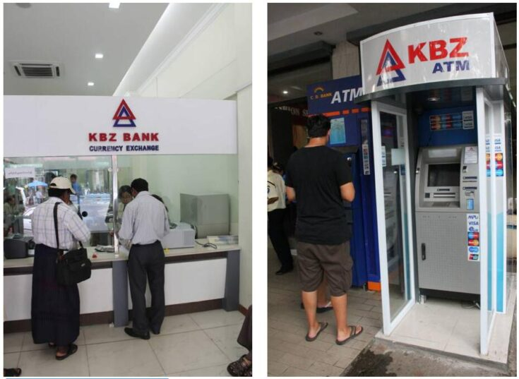 Changeover counter in a bank near the Sule Pagoda Myanmar