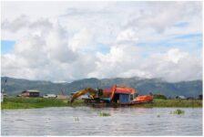 Water hyacinth removal on Inle Lake Myanmar